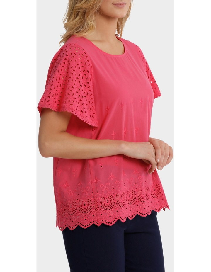 Broderie Solid Short Sleeve Top image 2