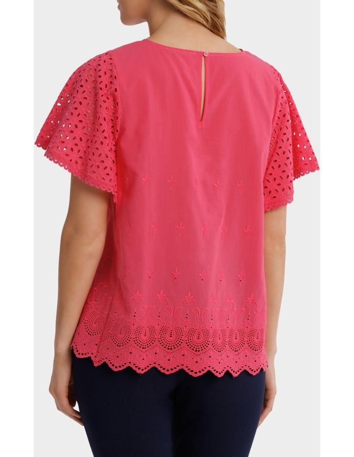 Broderie Solid Short Sleeve Top image 3