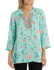 Regatta - Mint Floral Sequin Trim 3/4 Sleeve Top