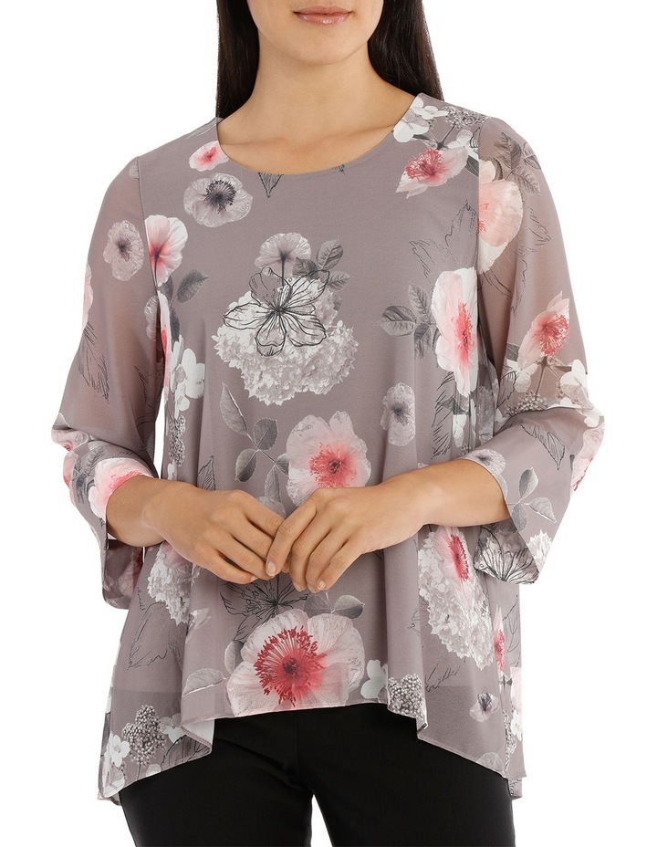 Floral Double Layer 3/4 Sleeve Top image 1