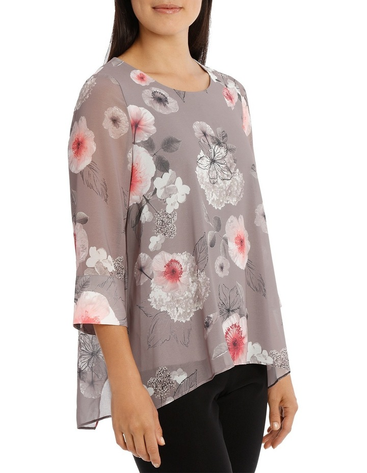 Floral Double Layer 3/4 Sleeve Top image 2