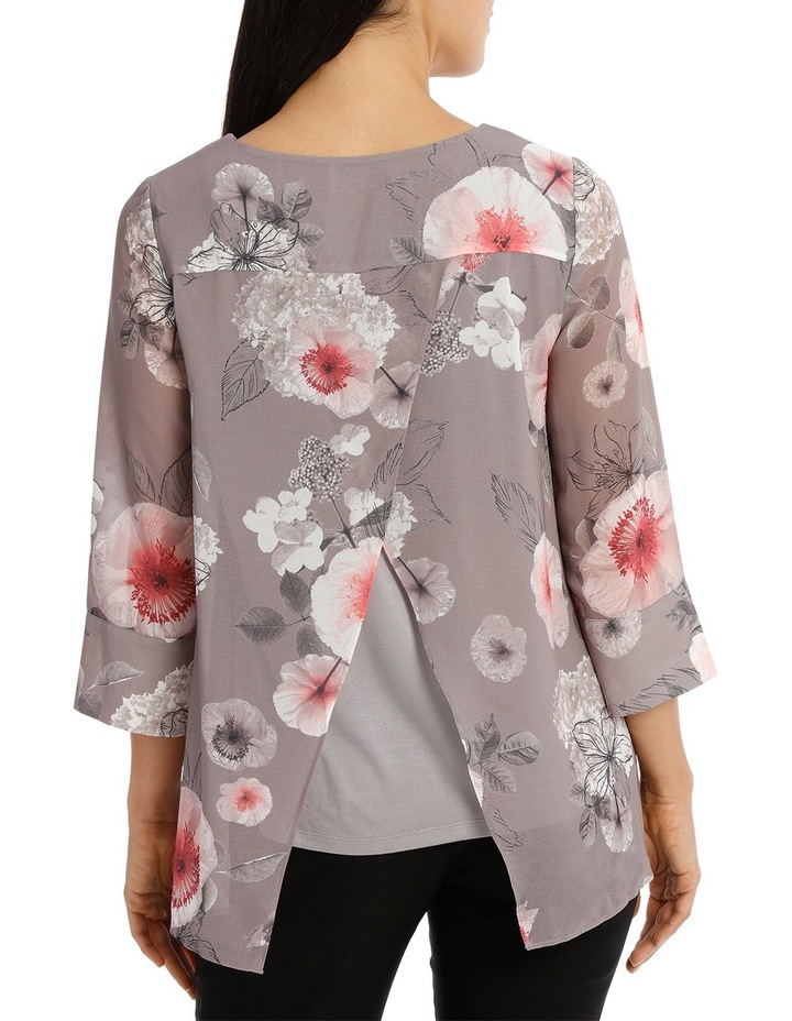 Floral Double Layer 3/4 Sleeve Top image 3