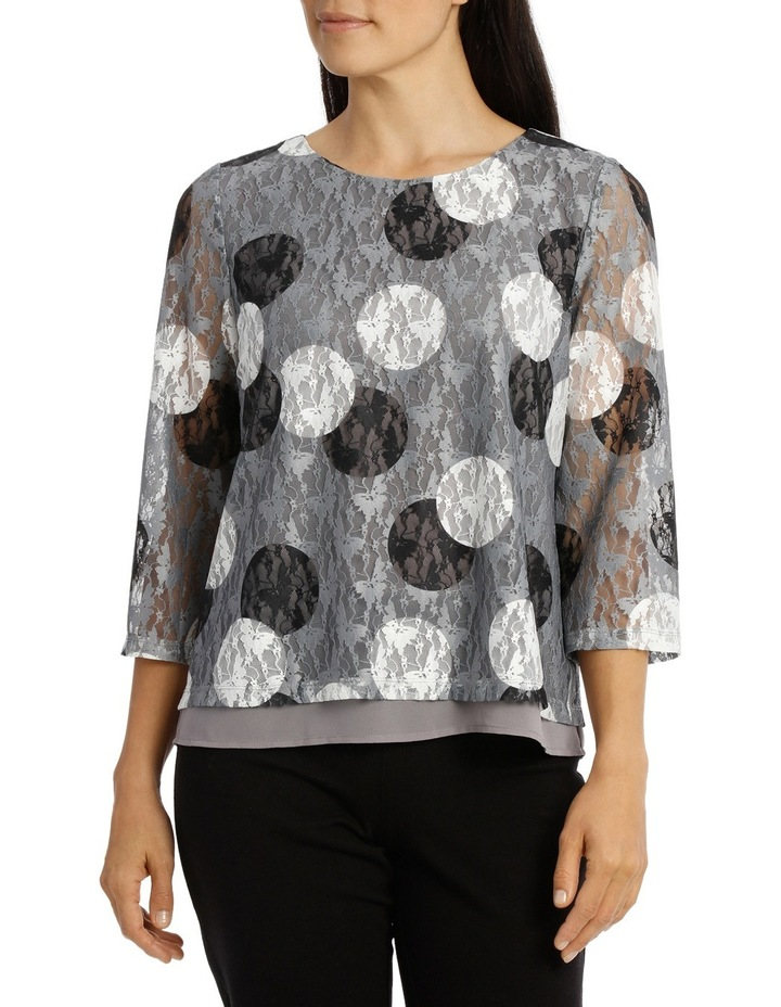 Spot Printed Lace 3/4 Sleeve Top image 1