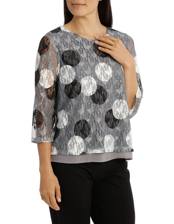 Spot Printed Lace 3/4 Sleeve Top image 2