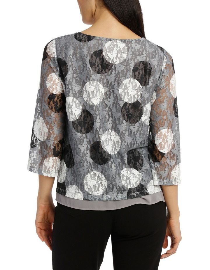 Spot Printed Lace 3/4 Sleeve Top image 3