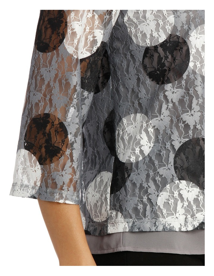 Spot Printed Lace 3/4 Sleeve Top image 4