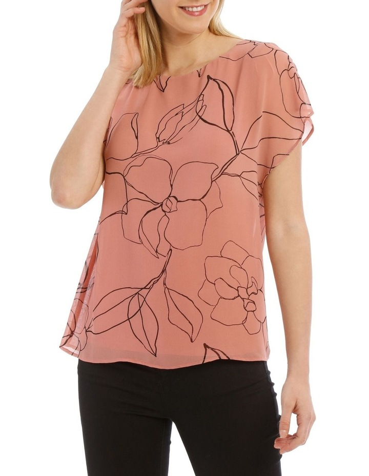 Sheer Dropped Short Sleeve Cuffed Woven Top image 1