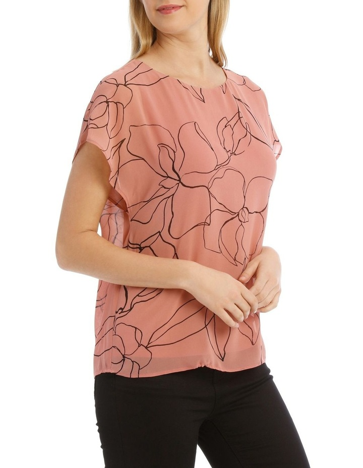 Sheer Dropped Short Sleeve Cuffed Woven Top image 2