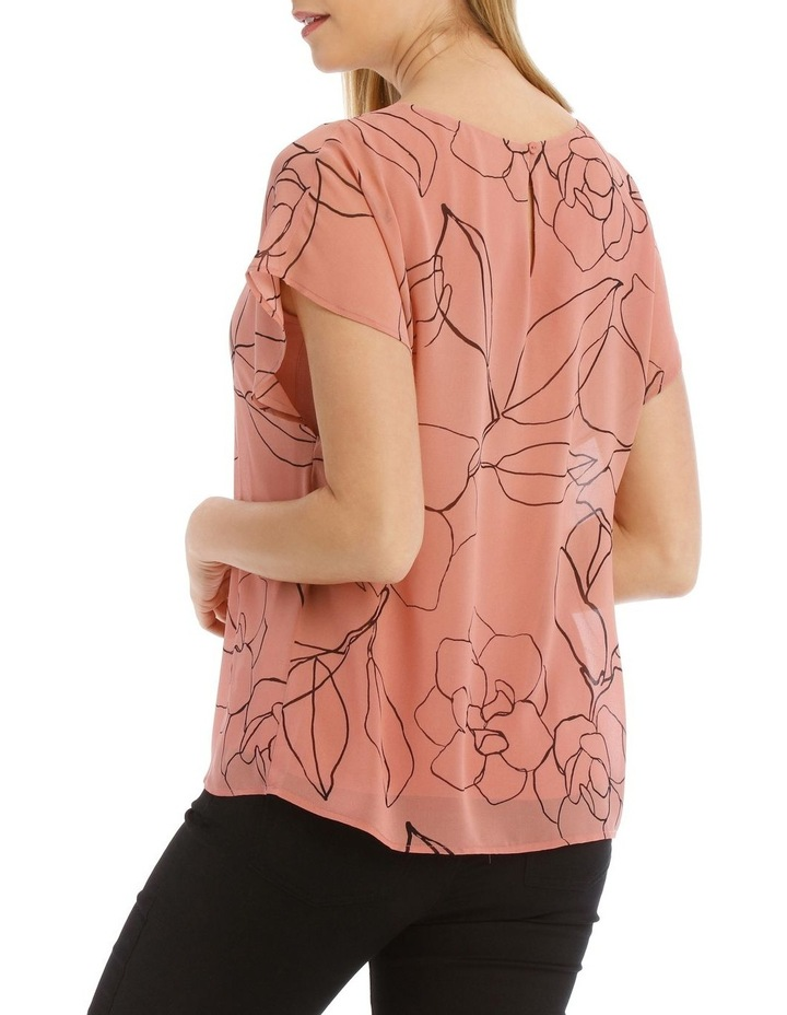Sheer Dropped Short Sleeve Cuffed Woven Top image 3