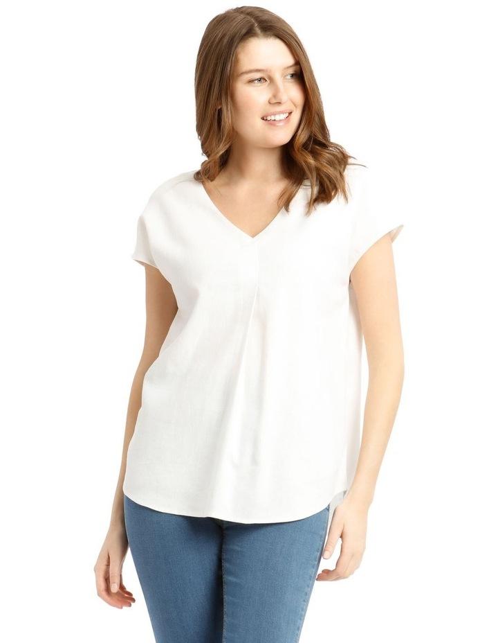 Extended Short Sleeve Linen Blend V-Neck Top image 1