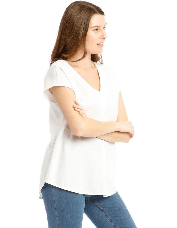 Extended Short Sleeve Linen Blend V-Neck Top image 2
