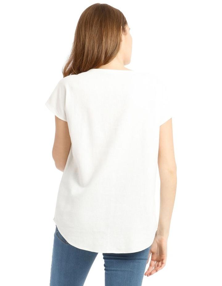 Extended Short Sleeve Linen Blend V-Neck Top image 3