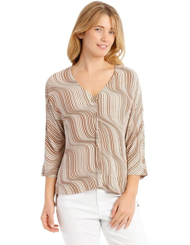 Magyar Sleeve Button-Up Top - Earth Squiggle image 1