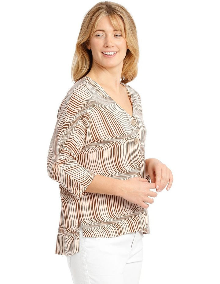 Magyar Sleeve Button-Up Top - Earth Squiggle image 2
