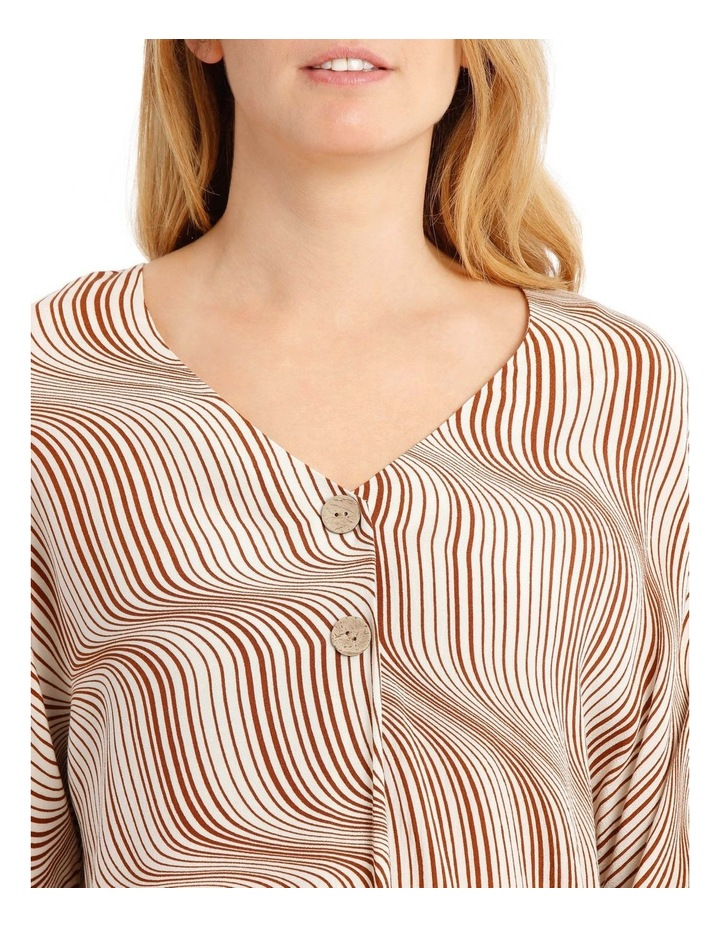 Magyar Sleeve Button-Up Top - Earth Squiggle image 4