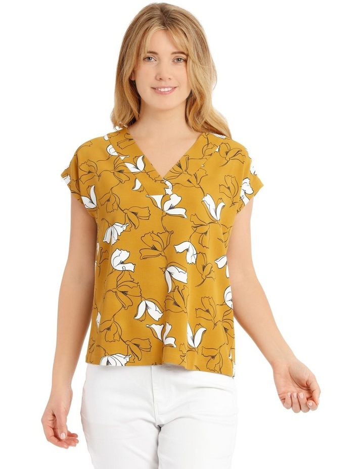 Extended Short Sleeve Floral Top - Mustard image 1