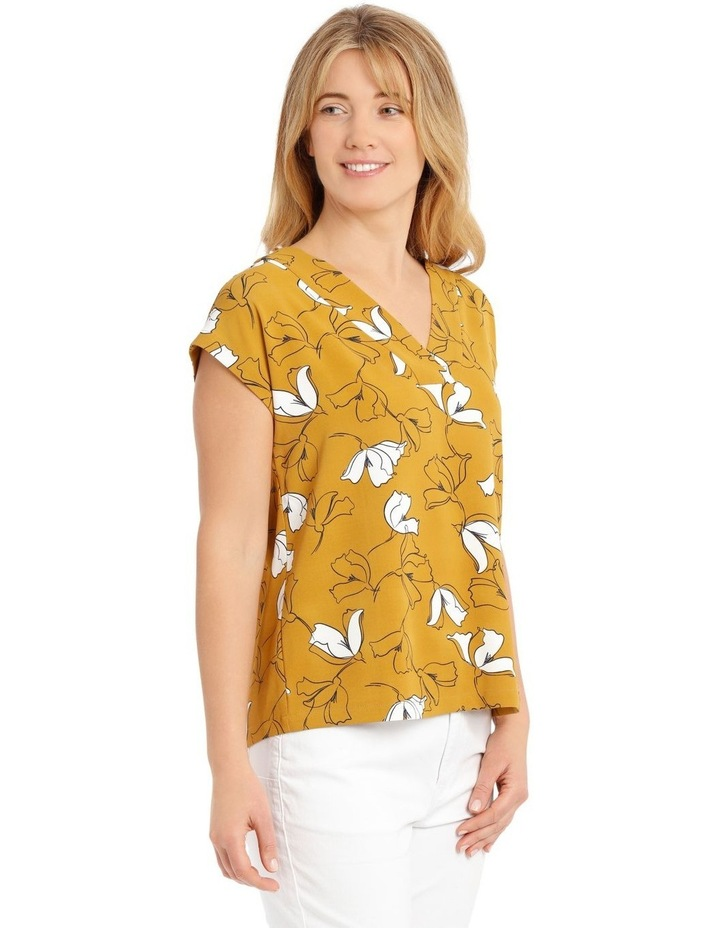 Extended Short Sleeve Floral Top - Mustard image 2