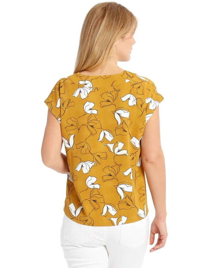 Extended Short Sleeve Floral Top - Mustard image 3