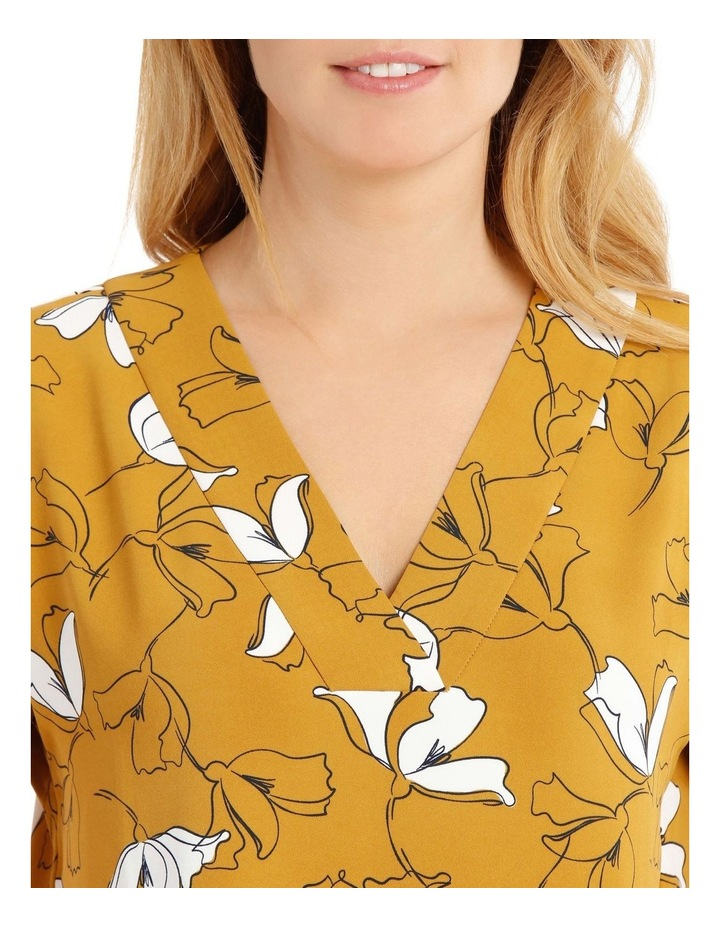 Extended Short Sleeve Floral Top - Mustard image 4