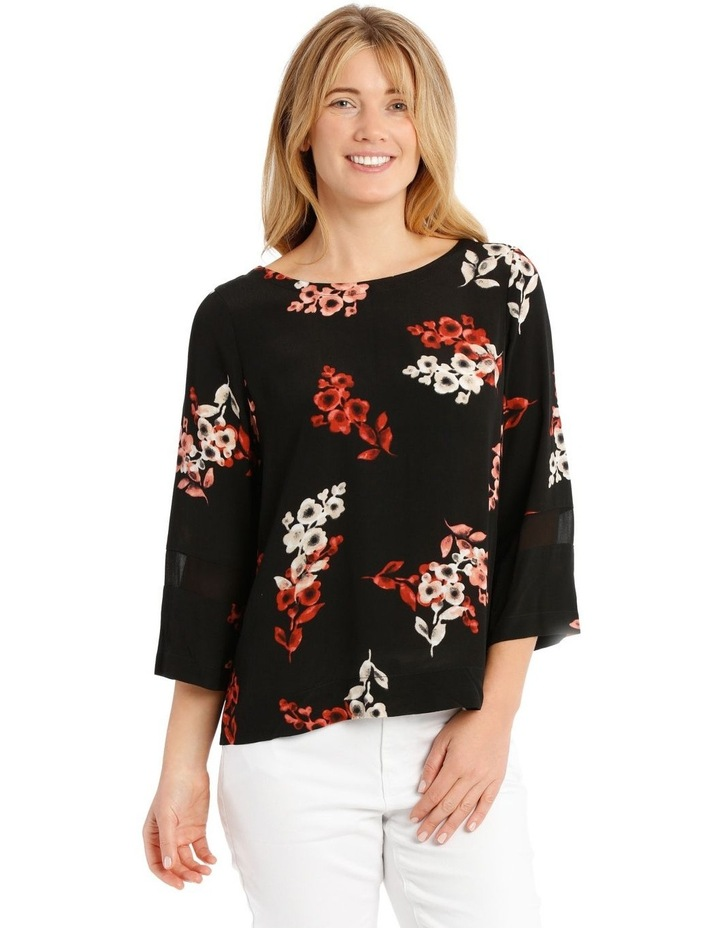 3/4 Sleeve Floral Top - Black Ombre image 1