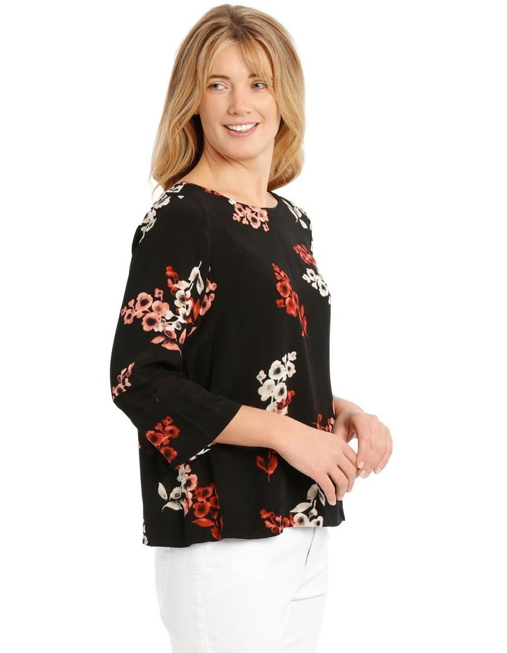3/4 Sleeve Floral Top - Black Ombre image 2