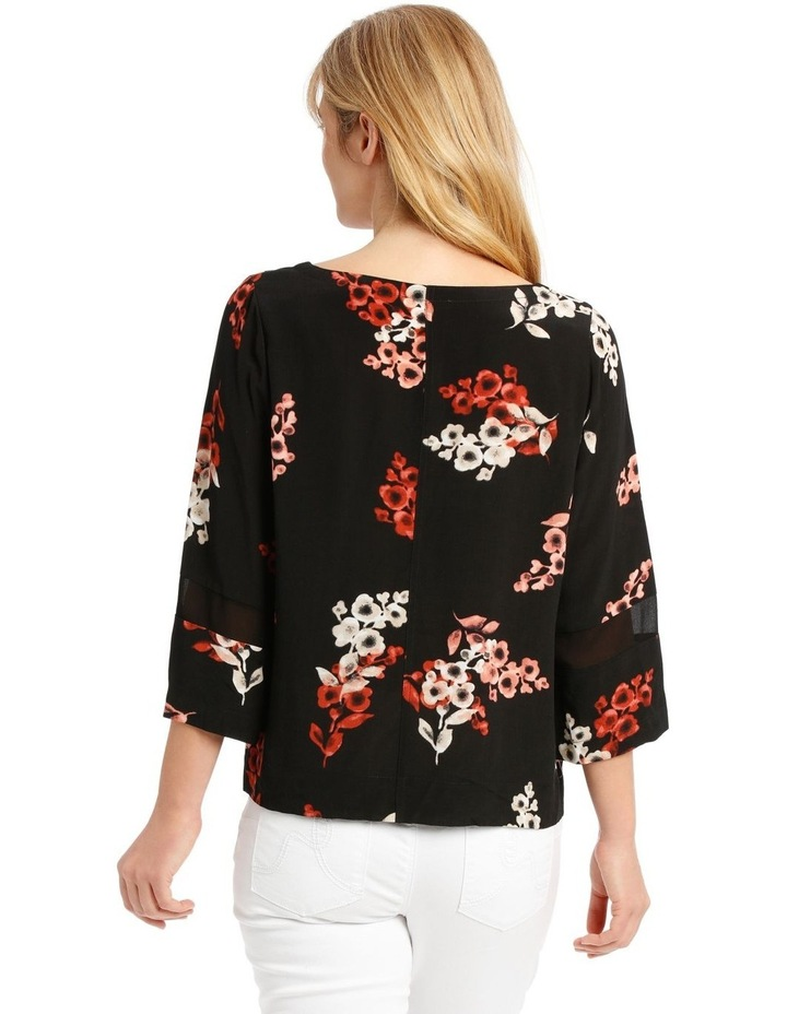 3/4 Sleeve Floral Top - Black Ombre image 3