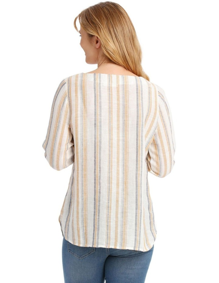 Tied 3/4 Curved Hem Woven Top image 3