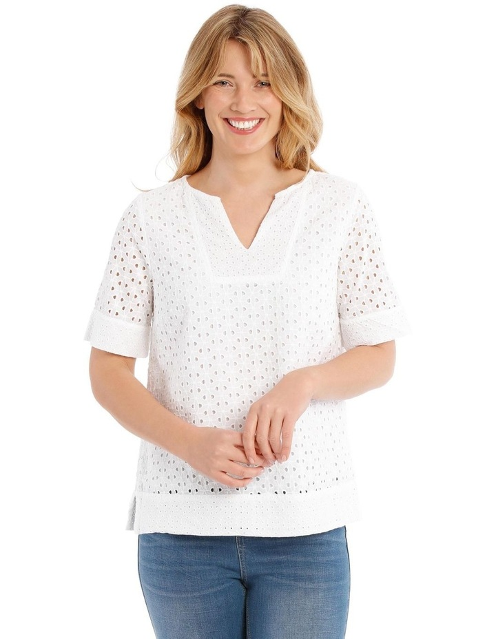 Short Sleeve Broderie Top image 1