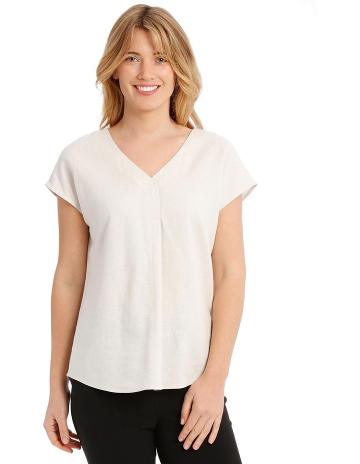 Extended Short Sleeve Linen Blend V-Neck Top image 1