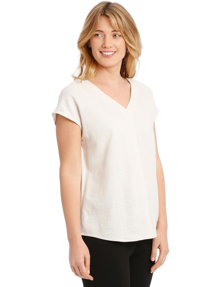 Extended Short Sleeve Linen Blend V-Neck Top image 2