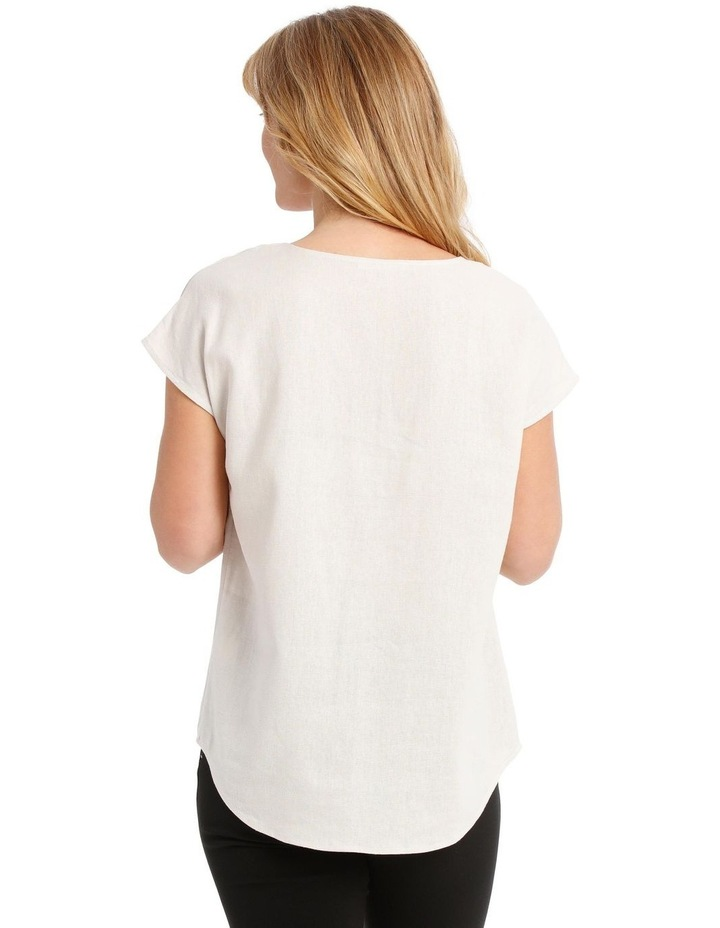 Extended Short Sleeve Linen Blend V-Neck Top image 3