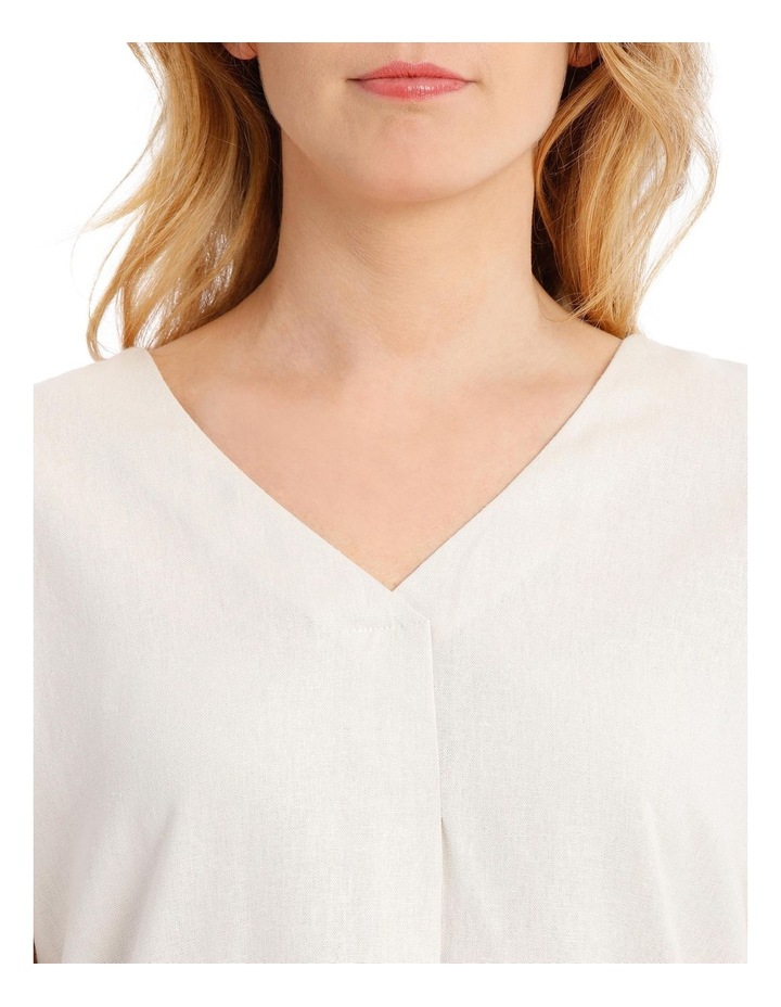 Extended Short Sleeve Linen Blend V-Neck Top image 4