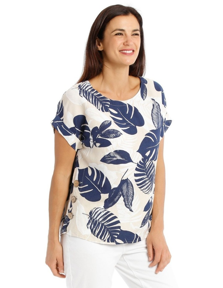 Magyar S/S Top With Side Seam Buttons-Neutral/Navy Palm Print image 2