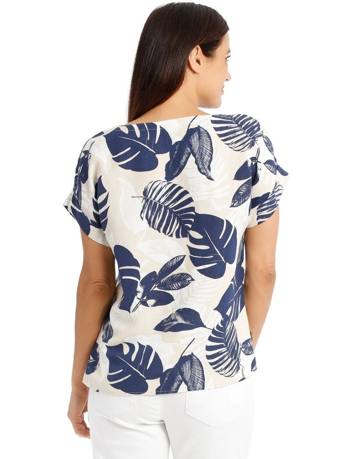 Magyar S/S Top With Side Seam Buttons-Neutral/Navy Palm Print image 3
