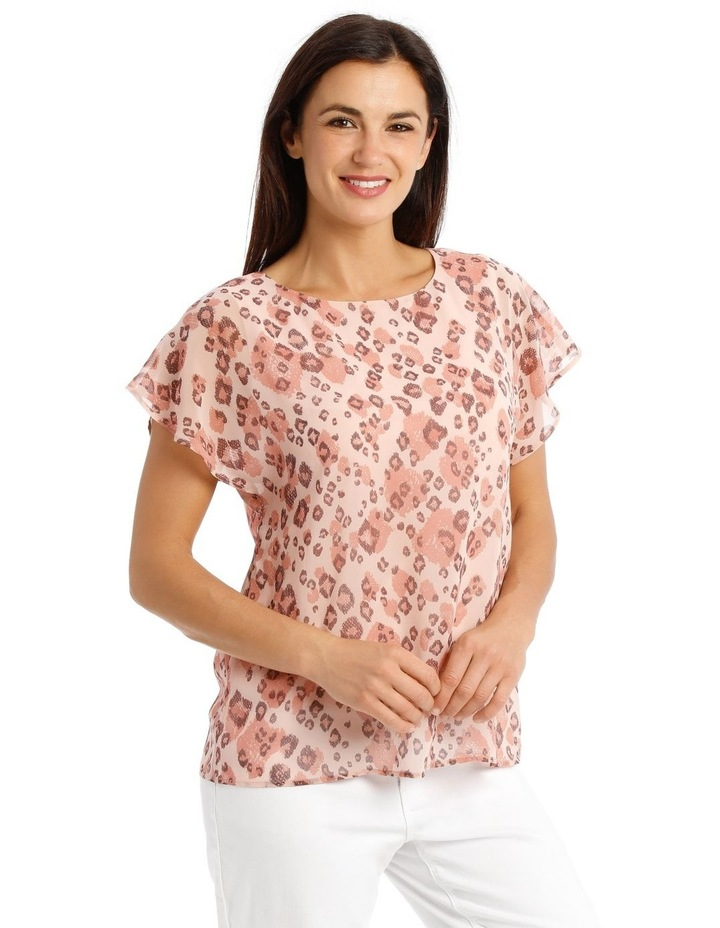 Sheer Dropped S/S Cuffed Woven Top With Lining-Blush Animal Print image 2