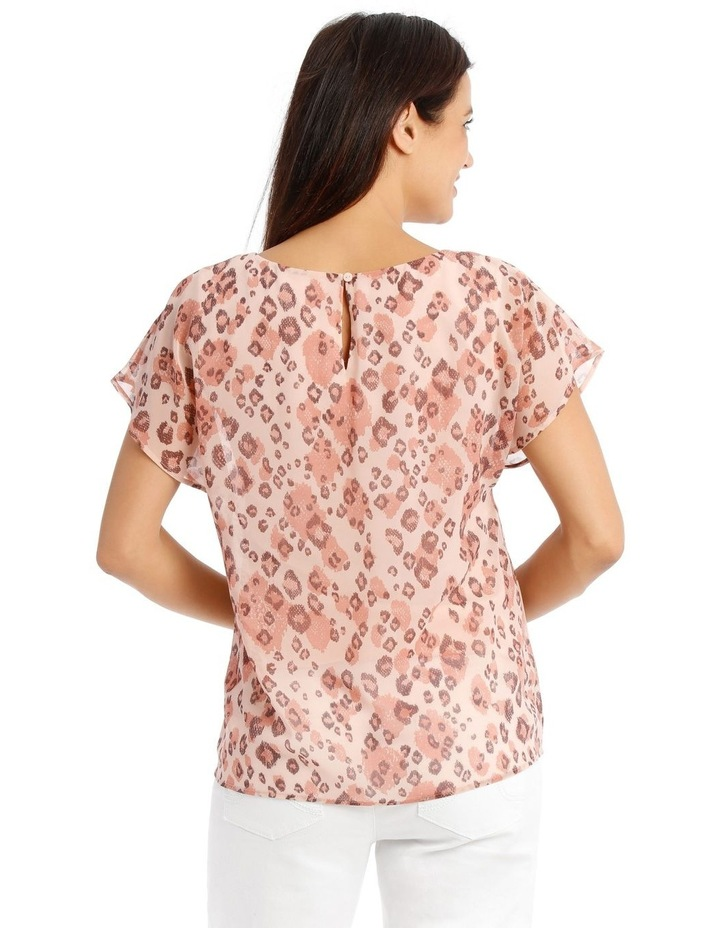 Sheer Dropped S/S Cuffed Woven Top With Lining-Blush Animal Print image 3