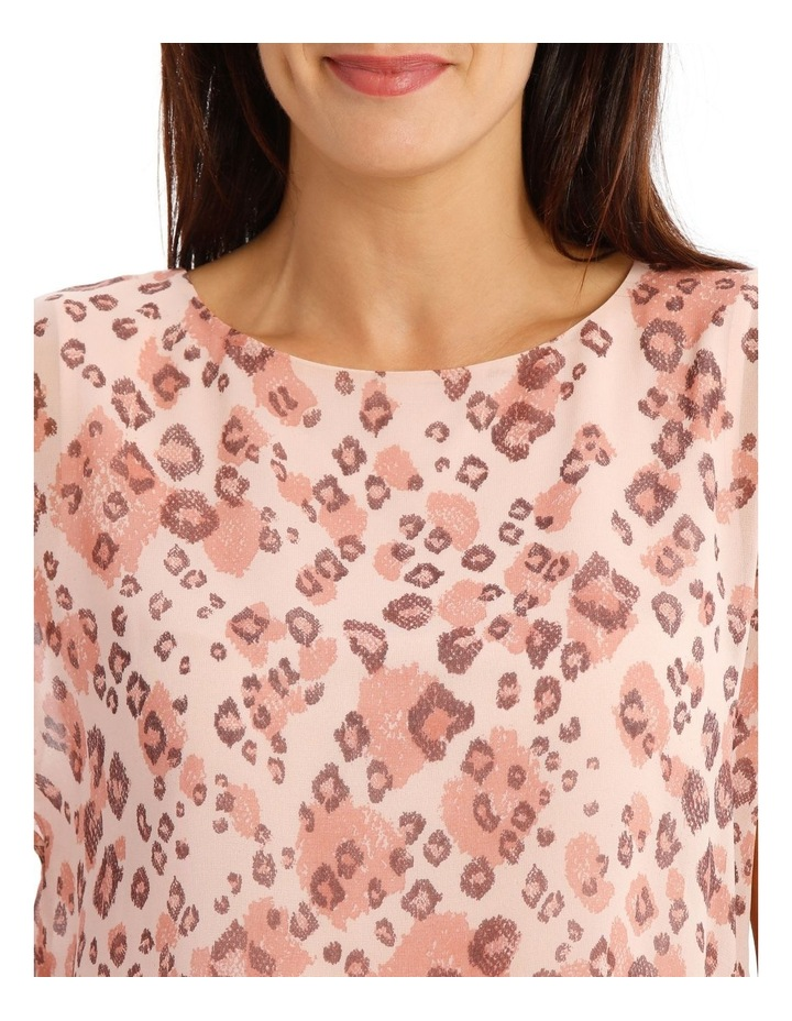 Sheer Dropped S/S Cuffed Woven Top With Lining-Blush Animal Print image 4