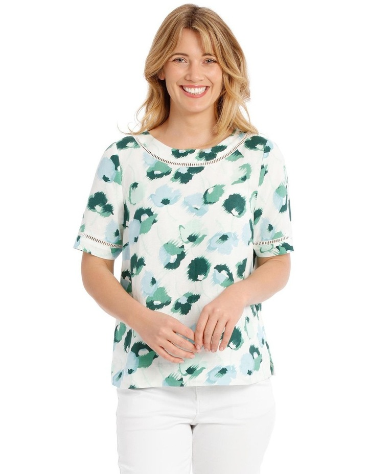 Short Sleeve Shell Top With Ladderlace Trim image 1