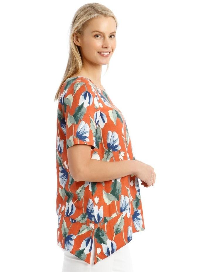 Short Sleeve Hanky Hem Top With Side Splits image 2