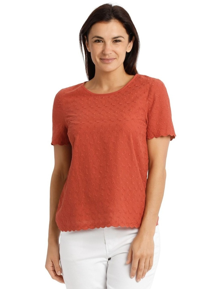 Short Sleeve Scalloped Sleeve And Hem Top image 1