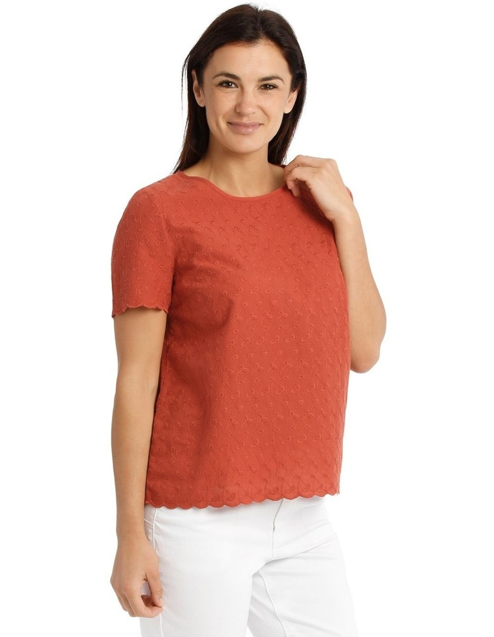 Short Sleeve Scalloped Sleeve And Hem Top image 2