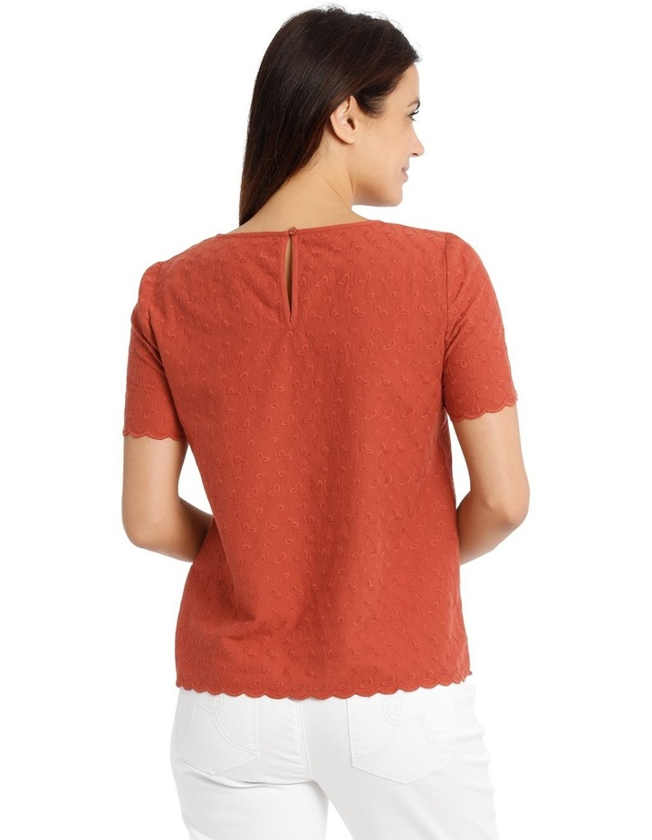Short Sleeve Scalloped Sleeve And Hem Top image 3