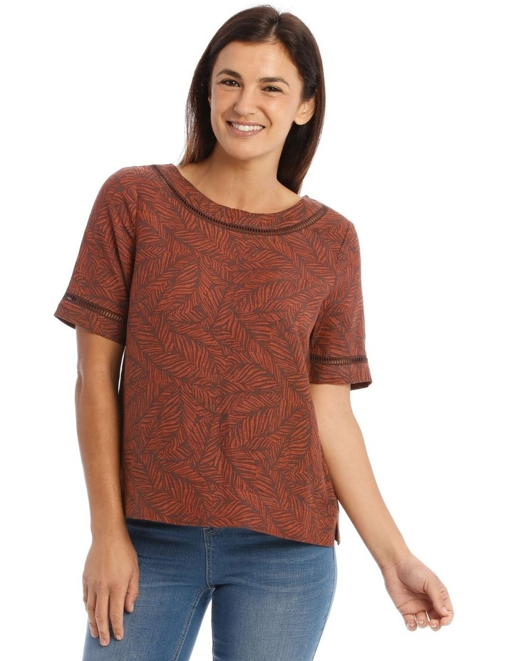 Short Sleeve Shell Top With Ladder Lace Trim image 1