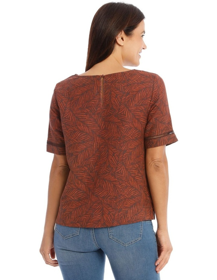 Short Sleeve Shell Top With Ladder Lace Trim image 3