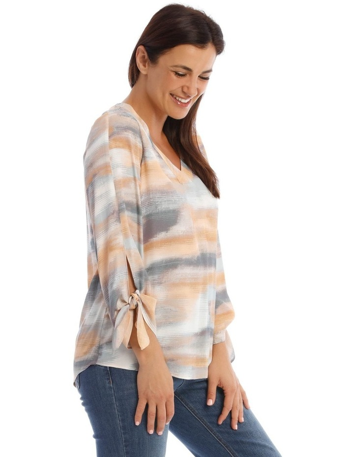 V-Neck Long Sleeve Top With Split Tie Sleeves image 2