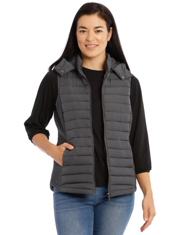 Kindled Straight Quilted Vest With Removable Hood image 1