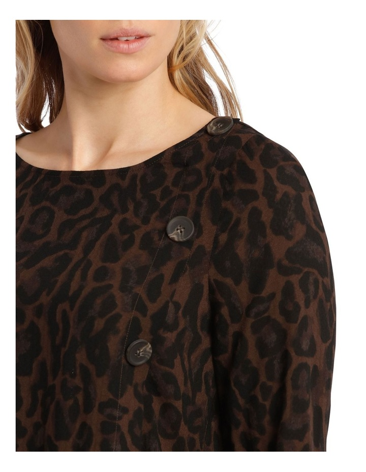 Animal Printed Button Side Top-Brown image 4