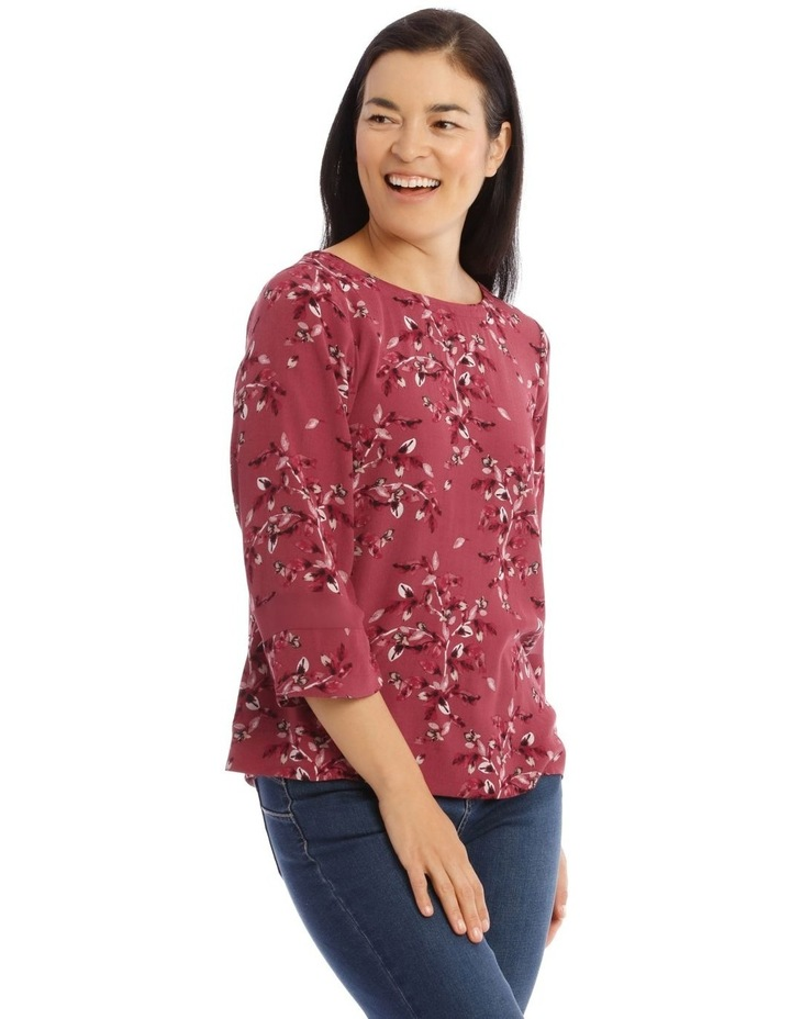 3/4 Sleeve Top With Sheer Panel In Sleeve image 2