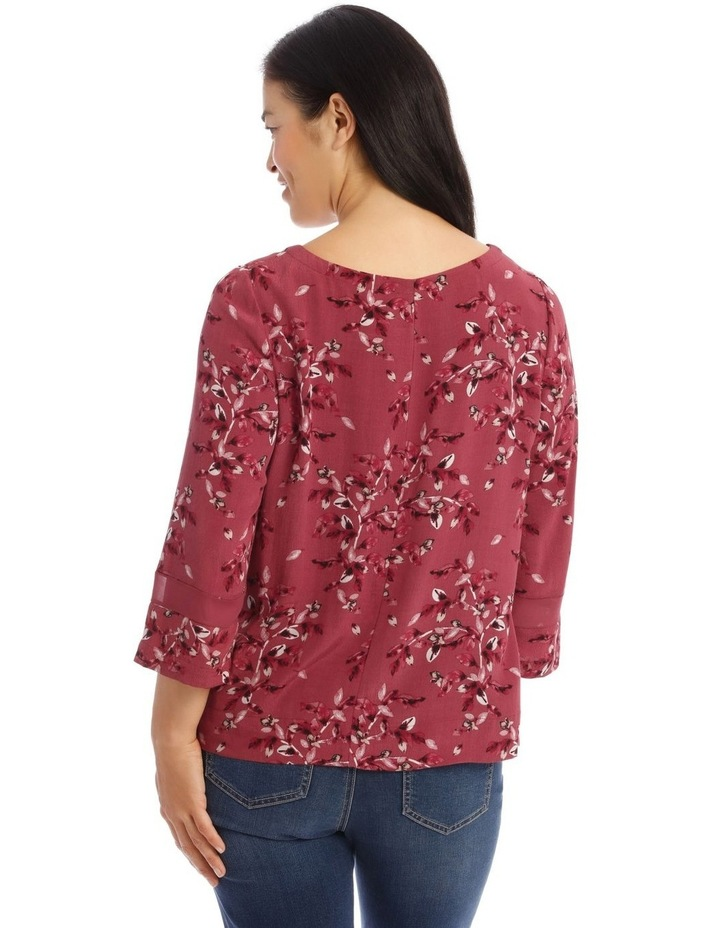 3/4 Sleeve Top With Sheer Panel In Sleeve image 3