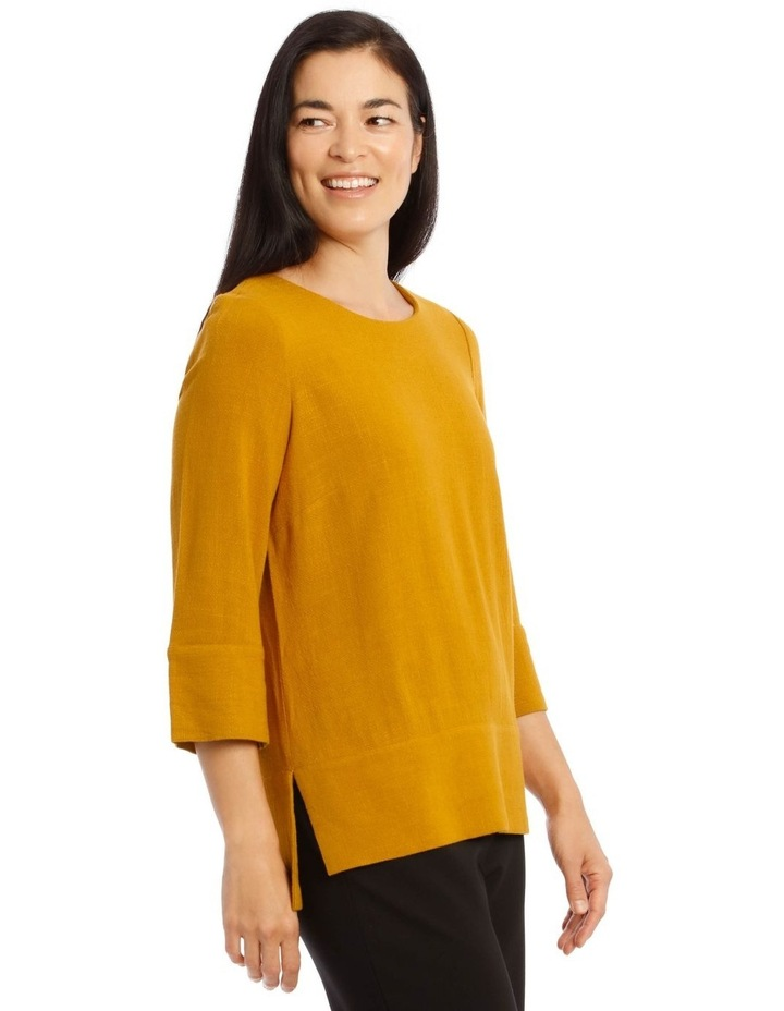 Mottled Marble 3/4 Sleeve Top With 3/4 Sleve And Side Splits image 2